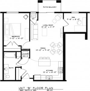 1 BR and Den_Unit_B